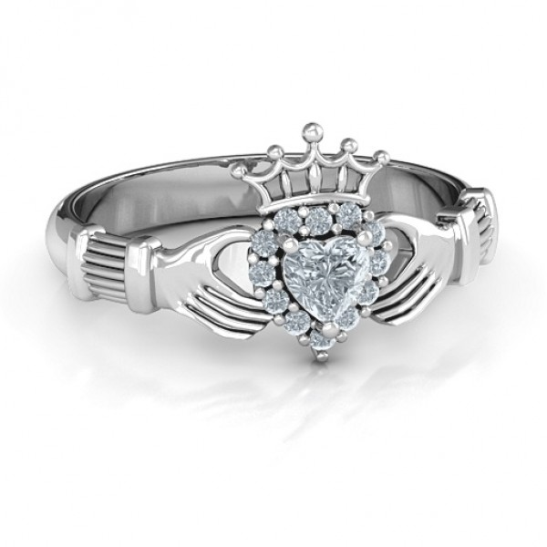 Claddagh with Halo Ring - Name My Jewellery