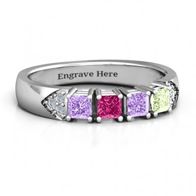 Classic 2-7 Princess Cut Ring with Accents - Name My Jewellery
