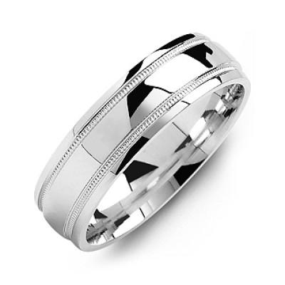 Classic Dome High-Polish Milgrain Men's Ring - Name My Jewellery