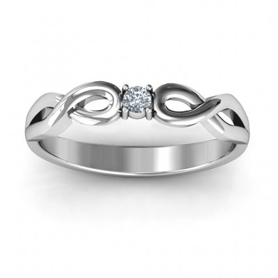 Classic Solitare Sparkle Ring with Infinity Band - Name My Jewellery