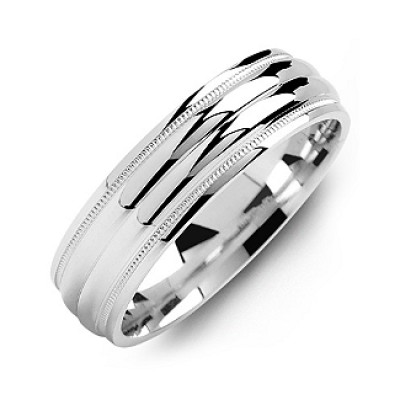 Classic Two-Line Milgrain Men's Ring - Name My Jewellery
