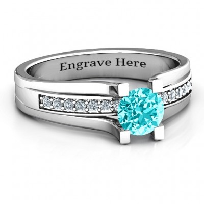 Column Set Solitaire Ring - Name My Jewellery