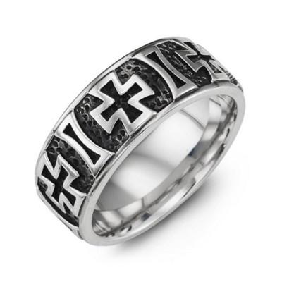 Cross Pattern Cobalt Ring - Name My Jewellery