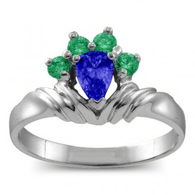 Crown Pear 2-8 Stones Ring  - Name My Jewellery