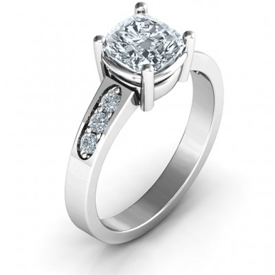 Cushion Cut Solitaire with Accents Ring - Name My Jewellery