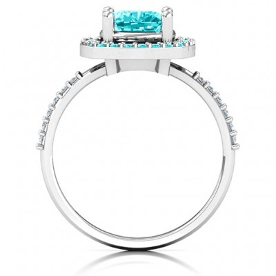 Cushion Cut Statement Ring with Halo - Name My Jewellery