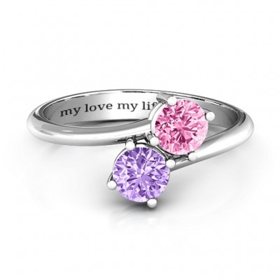 Destined For Love Double Gemstone Ring  - Name My Jewellery