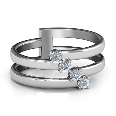 Diagonal Dazzle Ring With 4-5 Gemstones  - Name My Jewellery