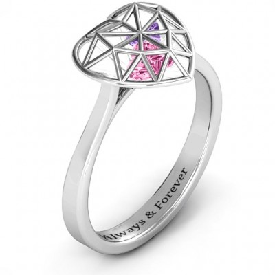 Diamond Heart Cage Ring With Encased Heart Stones  - Name My Jewellery