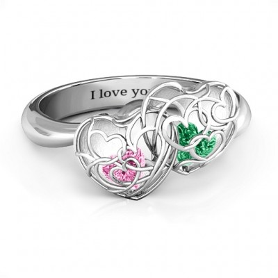 Double Heart Cage Ring with 1-6 Heart Shaped Birthstones  - Name My Jewellery