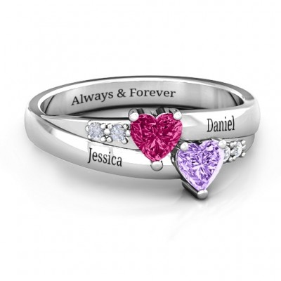 Double Heart Gemstone Ring with Accents  - Name My Jewellery