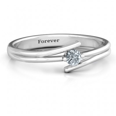 Double Line Bypass Ring - Name My Jewellery
