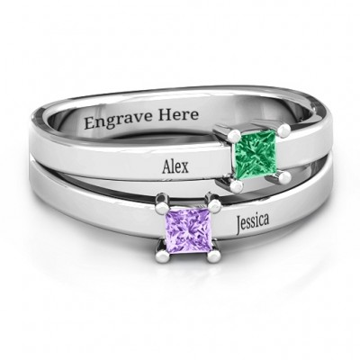 Double Princess Cut Ring - Name My Jewellery