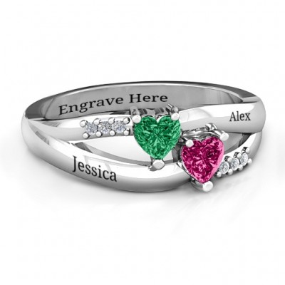 Dual Hearts with Accents Ring - Name My Jewellery
