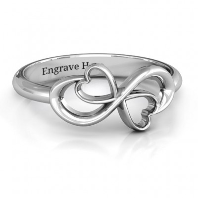 Duo of Hearts Infinity Ring - Name My Jewellery