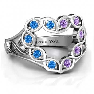 Floating Heart Infinity Ring - Name My Jewellery