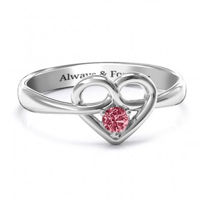 Forget Me Knot Heart Infinity Ring - Name My Jewellery