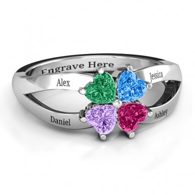 Four Clover Hearts Ring - Name My Jewellery