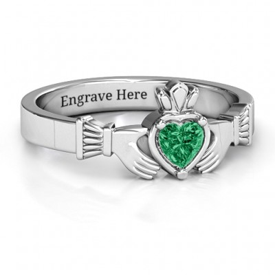 Heart Stone Claddagh Ring  - Name My Jewellery
