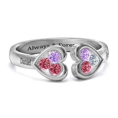 Heart To Heart Wraparound Ring - Name My Jewellery