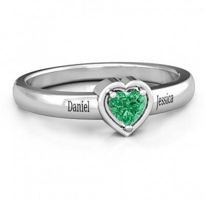 Heart in a Heart Ring - Name My Jewellery