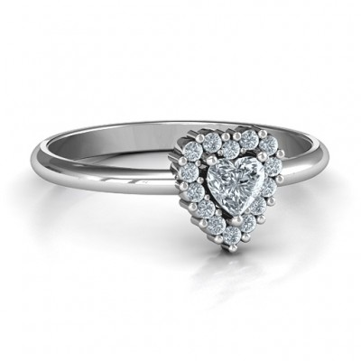 Heart with Halo Promise Ring - Name My Jewellery