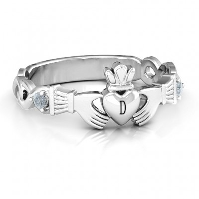 Infinity Claddagh With Side Stones Ring  - Name My Jewellery