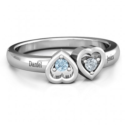 Inverted Kissing Hearts Ring - Name My Jewellery