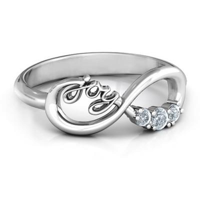 Joy Infinity Ring with 3 Stones  - Name My Jewellery