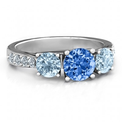 Majestic Three Stone Eternity Ring with Accents  - Name My Jewellery