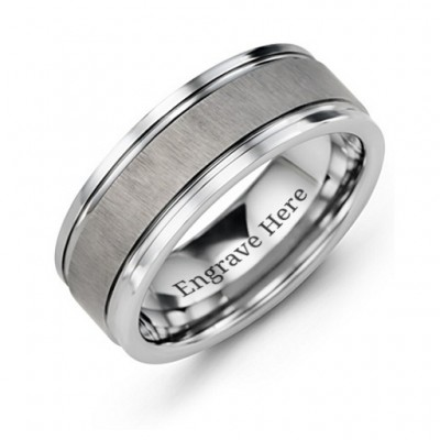 Men's Grooved Tungsten Ring with Brushed Centre - Name My Jewellery