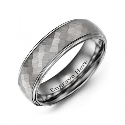 Men's Hammered Centre Polished Tungsten Ring - Name My Jewellery