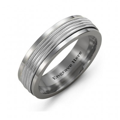 Men's Ribbed Centre Tungsten Band Ring - Name My Jewellery