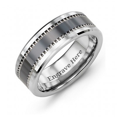 Men's Trail Tungsten Ring - Name My Jewellery