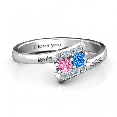 Must Be Love Two Stone Ring  - Name My Jewellery