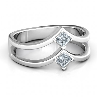 Peaks and Valleys Geometric Ring With Princess Stones  - Name My Jewellery