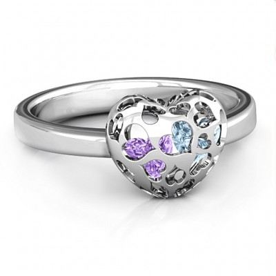 Petite Caged Hearts Ring with 1-3 Stones  - Name My Jewellery