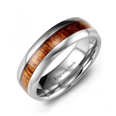Polished Tungsten Ring with Koa Wood Insert - Name My Jewellery