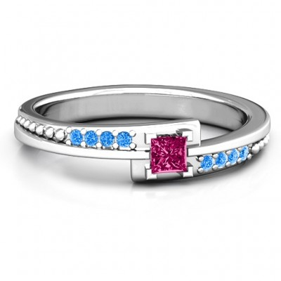 Princess Cut Ring with Accents - Name My Jewellery