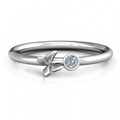 Soaring Butterfly with Stone 'Flower' Ring  - Name My Jewellery