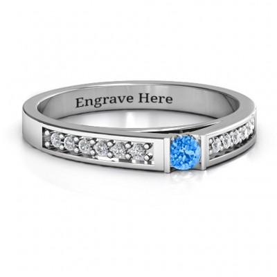 Solitaire Bridge Ring with Shoulder Accents - Name My Jewellery