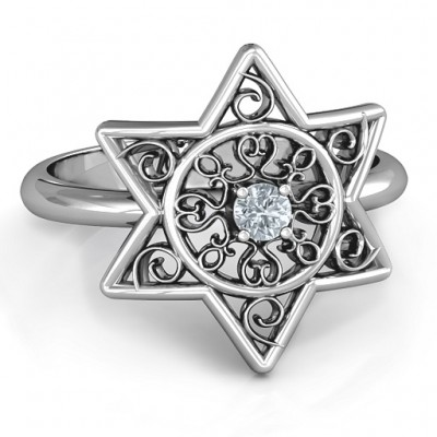 Star of David with Filigree Ring - Name My Jewellery