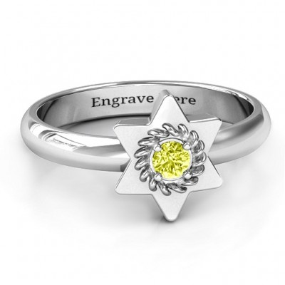Star of David with Stone and Roping Ring  - Name My Jewellery