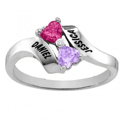 Sterling Silver  Rhapsody  Kissing Hearts Ring - Name My Jewellery
