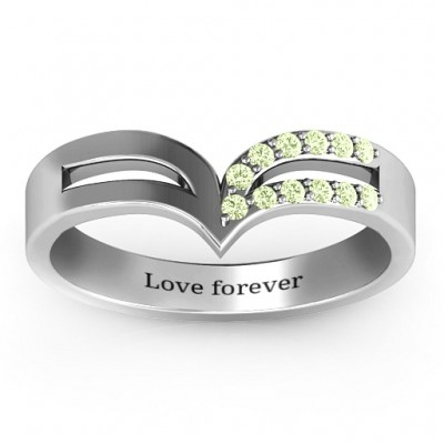 Sterling Silver Ahead Of The Curve Ring with Black Swarovski Zirconia Stones  - Name My Jewellery
