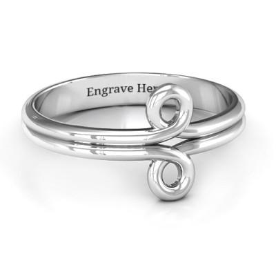 Sterling Silver Basket Weave Loop Ring - Name My Jewellery