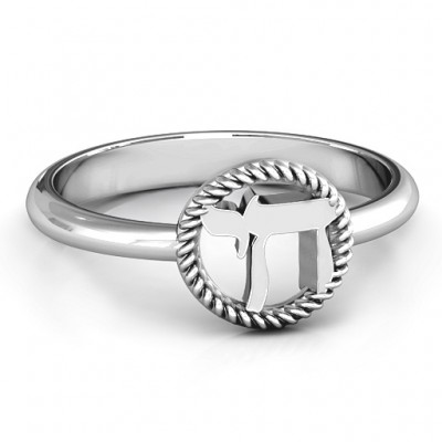 Sterling Silver Chai with Braided Halo Ring - Name My Jewellery