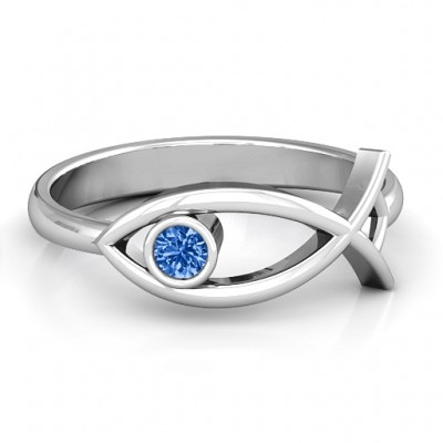 Sterling Silver Classic Fish Ring - Name My Jewellery