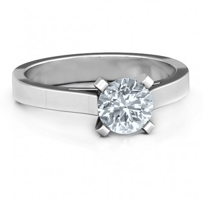 Sterling Silver Classic Solitaire Ring - Name My Jewellery