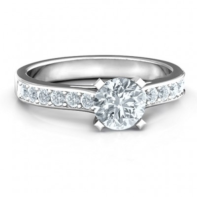 Sterling Silver Elegant Duchess Ring with Shoulder Accents - Name My Jewellery